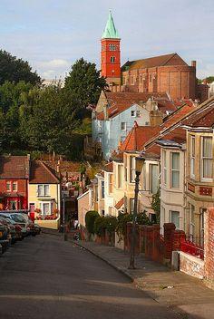 View Down Vale Street. Totterdown, Bristol, England