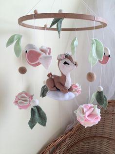 Deer Nursery, Flower Nursery, Woodland Nursery Decor, Woodland Baby, Bambi Baby, Woodland Mobile, Crib Toys, Newborn Toys, Handmade Baby
