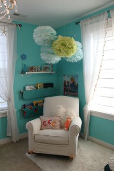 Mias Under the Sea bedroom, This is my older daughters bedroom. She is into animals, and turquoise is her favorite color. This is the third ...