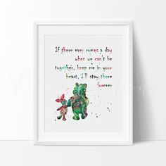 Winnie The Pooh Quote Boy or Girl Nursery Art Print Wall Decor. Our designs make an attractive, modern contemporary wall piece for your baby nursery, home, office or even as a gift.