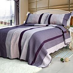 [Purple Charm] 100% Cotton 3PC Floral Vermicelli-Quilted Patchwork Quilt Set (Full/Queen Size)  http://electmejewellery.com/jewelry/purple-charm-100-cotton-3pc-floral-vermicelliquilted-patchwork-quilt-set-fullqueen-size-ca/