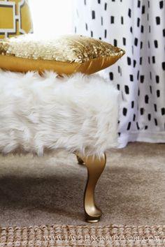 DIY Upholstered Faux Fur Bench