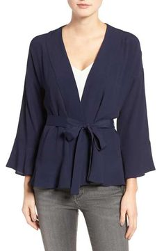 kind of a cute alternative to a cardi or jacket...  Chelsesa28 Wrap Blouse