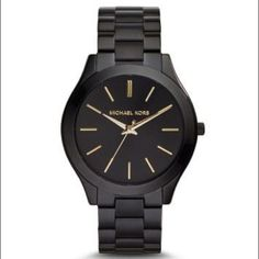 """Michael Kors Slim Runway Watch - Black - Brand New Black, Michael Kors """"Slim Runway"""" watch. Tags still on it and in box with booklet. Brand new, never worn or sized. Michael Kors Accessories Watches"""