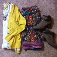 Yellow Cardigan, Merona Pencil Skirt, Ankle Boots, Lace Tank