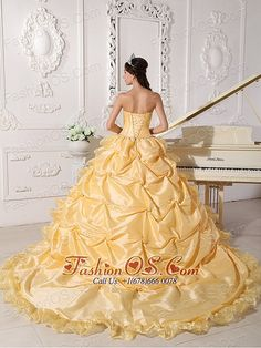 Exquisite Gold Quinceanera Dress Strapless Chapel Train  Ball Gown      fashionable sweet 16 gowns   elegant customize quinceañera dress   2013 pretty quinceanera dresses   wonderful custom made quinceanera dress   popular discount quinceanera gowns   plus size quinceanera dress   quinceanera dress for you   affordable 16 dress   quinceanera dress with corset closure   quinceanera dress for sweet15/16   beaded quinceanera dress with full skirt   quinceanera dress with low price