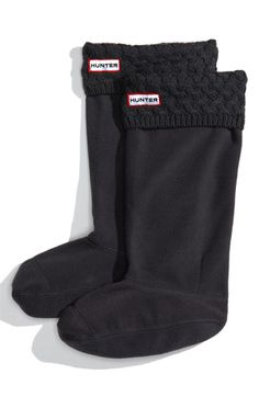 New Adult HUNTER Checked Plaid Knit Cuff Fleece Welly Tall Rain Boot Liner Socks