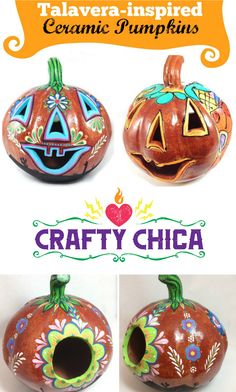 On a trip to San Antonio, I visited the market areaand talavera ceramic pumpkins were EVERYWHERE! So many different designs and styles. I told Patrick that I wanted to paint one, either a bisque pumpkin or a foam version.  Fast forward to last week. Patrick calls me from Lowe's.  KATHY! Lowe's has these beautiful ceramicpumpkins! Want one to paint like we saw in San Antonio?  Aw, he knows me too well. He didn't only get one, he picked up two of the pumpkins. Why? Because he wanted to…