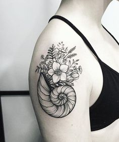 Seashell and Flower Tattoos on Shoulder for Girls