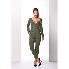 Kombinezon z kopertowym dekoltem khaki Jumpsuit, Casual, Dresses, Patterns, Fashion, Overalls, Vestidos, Block Prints, Moda