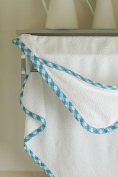 Hooded towel tutorial using bias tape.