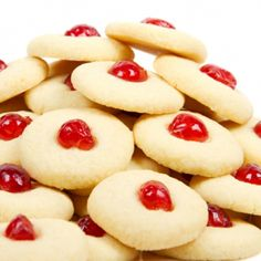 An Easy and very yummy recipe for shortbread cookies topped with a cherry.. Cherry Shortbread Cookies Recipe from Grandmothers Kitchen. Follow us on Pinterest.