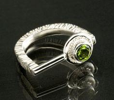 Men's Ring - textured sterling silver Ring bezel set peridot