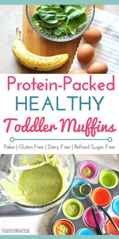 Protein-Packed Healthy Toddler Muffins (real food, paleo, gluten free, dairy free, refined sugar free) Looking for a healthy and delicious snack idea for toddlers or kids? These protein-packed muffins a Healthy Toddler Muffins, Healthy Toddler Meals, Healthy Snacks For Kids, Yummy Snacks, Breakfast Healthy, Easy Toddler Snacks, Breakfast Recipes, Healthy Breakfast For Toddlers, Breakfast Ideas For Kids