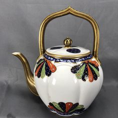 Royal Worcester (Aesthetic period) octagonal shaped body, eight panels,gilt overhead 'persian' shaped handle,gilt spout,location U.S.A. Puce mark with capital R underneath,1880