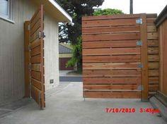 wooden driveway gates | 1x6 redwood modern horizontal privacy driveway gates, with electric ...