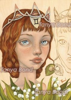 Gemini Girl - surreal pop fantasy art portrait astrology zodiac sign illustration girl twin 5x7 print of original painting by Tanya Bond