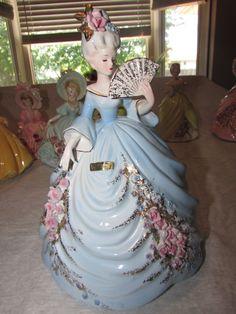 """Very RARE Josef Originals Vtg Lady ADELAIDE w/ FAN lg 9.75"""" Figurine BLUE DRESS"""