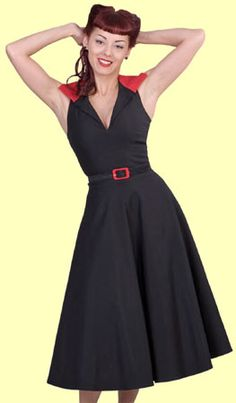 Lindy Bop Retro Vintage 40s 50s Tina Black Cotton Swing Dress 22