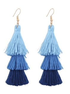 Blue Tassel Earrings It is so easy to fall in love with this trendy triple-tiered earrings. Featuring a gold plated earring base and silk tassel. Blue Tassel Earrings, Tassel Jewelry, Unique Earrings, Women's Earrings, Jewellery, Layered Jewelry, Shape Patterns, Pink Purple, Tassels