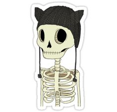 A cute skeleton with his all time favorite knitted kitty hat! • Also buy this artwork on stickers, apparel, phone cases, and more.