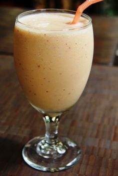 My favorite post workout treat, the Peachy Protien Smoothie
