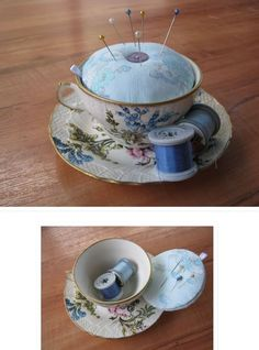 Sweet idea! :) Tutorial on how to make this teacup pincushion.