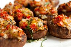 How to make stuffed mushrooms recipe. Baby bella mushroom with cheese, peppers, garlic & tomatoes. Appetizer, side dish, or snack!