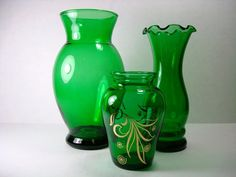 Vintage Green Glass Vase  Set of Green Vases  by Kisses4Lucy