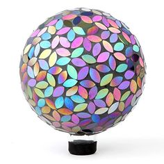 Lilys Home Holographic Mosaic Flower Petal Glass Gazing Ball Purple and Silver Mirror 10Inch *** Learn more by visiting the image link.