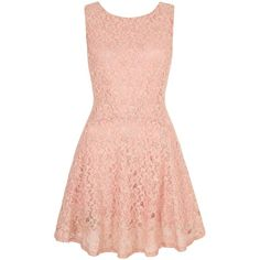 Yumi Lace Skater Dress (£75) ❤ liked on Polyvore featuring dresses, blush, clearance, red sleeveless dress, pink sleeveless dress, open back lace dress, sleeveless skater dress and v neck dress