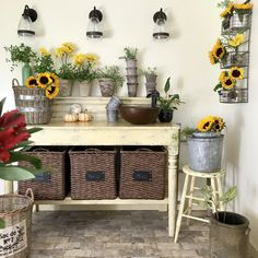 Loving my farmhouse table turned into a mudroom sink area! So convenient for cut flowers, rinsing veggies and hand washing after being in the garden. Woodland Nursery, Woodland Animals, Black And White Baby, Cut Flowers, Flowers Garden, Animal Decor, Autumn Garden, Animal Nursery, Black Decor