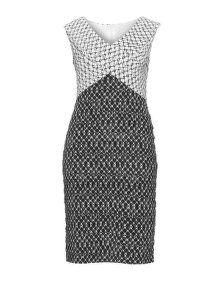 Tia Dresses Two tone printed pencil dress in Black / White