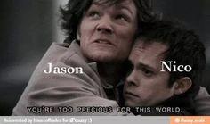 Jason protecting Nico. Pretty much what Jason was doing in house of hades... // ahahahahahahaha... no.