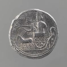 The Persian king standing in his chariot - coin. Achaemenid Period, 360 BC. Susa Acropolis. Mesopotamia. | Louvre Museum