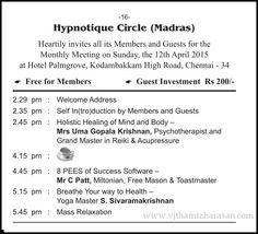 Hypnotique Circle Chennai Agenda April 2015