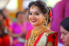 Marathi Nath, Marathi Saree, Marathi Bride, Marathi Wedding, Bridal Hairstyles, Indian Hairstyles, Indian Bridal Makeup, Wedding Makeup, Wedding Outfit For Boys