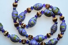 Paper Bead Necklace the LAVENDER and GOLD model by ArtByEvaEsrum
