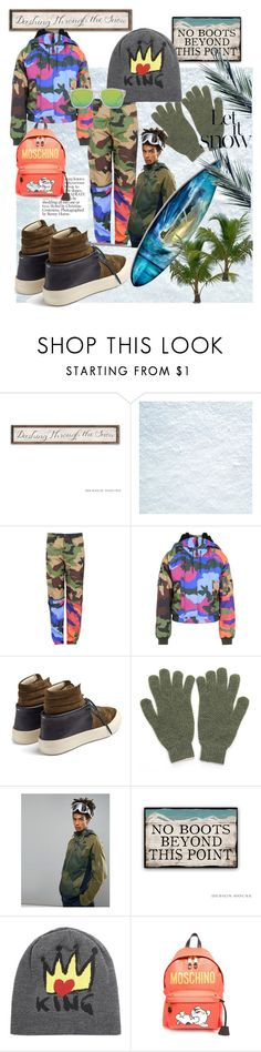 """Snow-Surfing in Florida in Moschino❄️❄️"" by mdfletch ❤ liked on Polyvore featuring Moschino, Maison Margiela, Kate Sheridan, O'Neill, Dolce&Gabbana, men's fashion, menswear and snowsurfing"