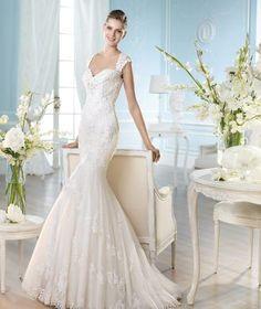 Elegante Meerjungfrau Brautkleider aus Softnetz mit Spitze