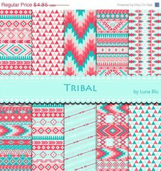 """50% OFF Tribal Digital Paper: """"Tribal Patterns"""" Coral and Turquoise Tribal, with triangles, chevron, arrows, aztec digital paper, tribal des"""