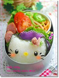 Adorable nori onigiri Hello Kitty bento box