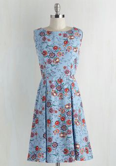 All According to Plant Dress - Mid-length, Woven, Multi, Blue, Floral, Print, Casual, A-line, Sleeveless, Better