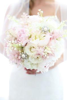 Pink peony wedding bouquet with jewels and pearls NJ Photography By / http://kayenglishphotography.com,Wedding Planning By / http://bellabridalconsultants.com
