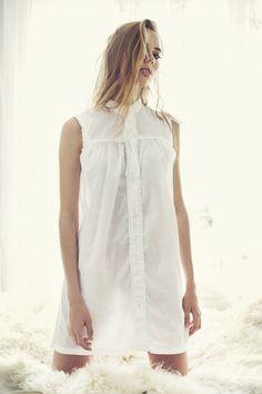 Cotton and Linen White Buttoned Nightgown / Women di SkinnySonders, $65.00
