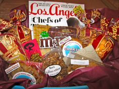 "an LA themed farewell basket for my ""first client"" - everything is from LA (except the Starbucks card)"