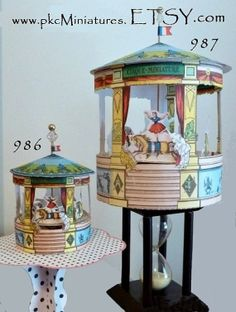 French Circus Carousel Miniature Rotates design by pkcMiniatures, $45.98