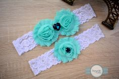 Handmade Bridal Garter of Baby Blue Flower, Teal Rhinestone & White Lace - by BespokeGarters by BespokeGarters on Etsy
