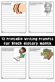 12 printable writing prompts for black history month. Black History Month Quotes, Black History Month Activities, History For Kids, Writing Prompts For Kids, Writing Activities, One Step, Koh Tao, Workout, Nasa History