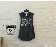 Boys in books are better custom made Ultra soft Ladies fun tank graphic humor to